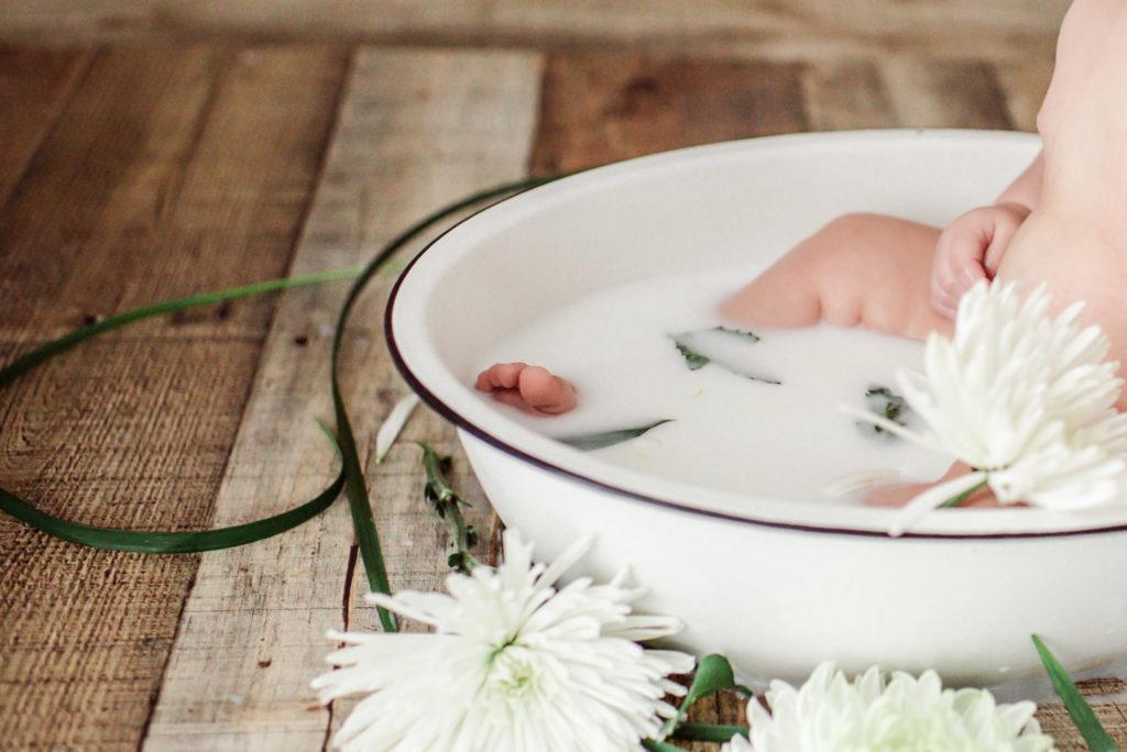 6 Month Baby Girl Milk Bath Photography
